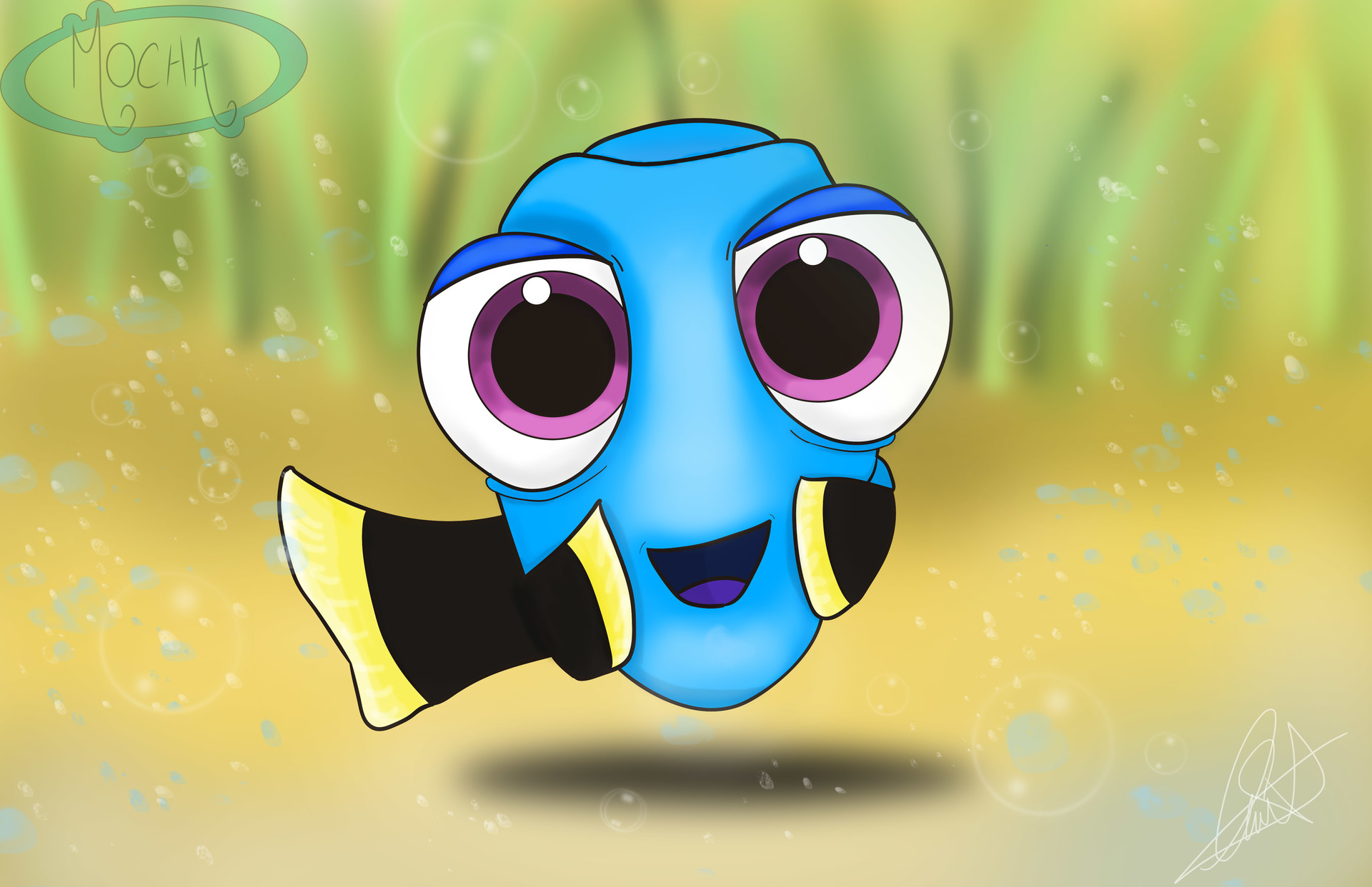 "Illustration Fan art ""Baby Dory"" - Finding Dory /illustrator & photoshop 1q9q"