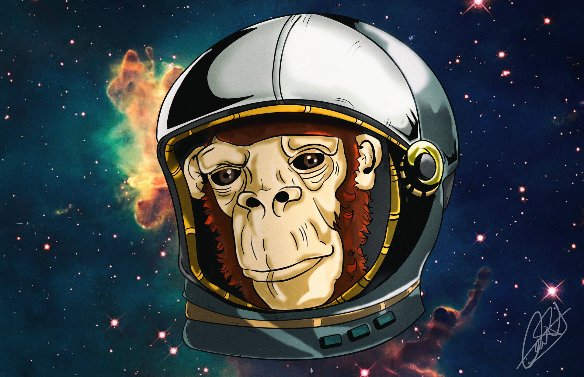 Fan art de space monkey / illustrator, Photoshop 1wjr