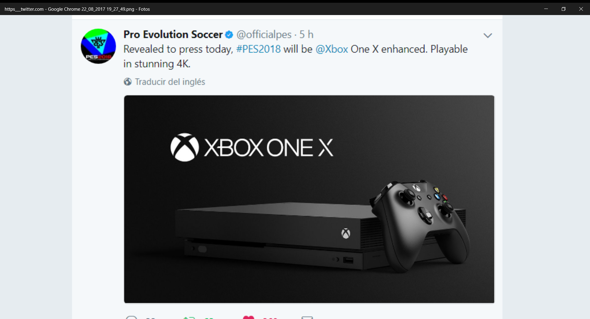 XBOX ONE X 4K native resolution Enhanced with PES 18.
