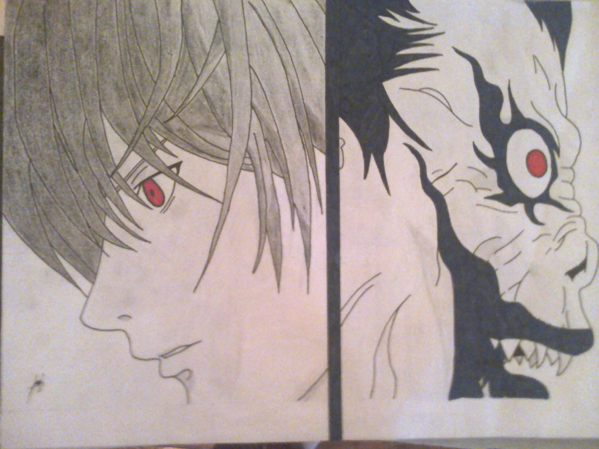 Dibujos Para Colorear De Death Note: Dibujo De Light Y Ryuk (Death Note)